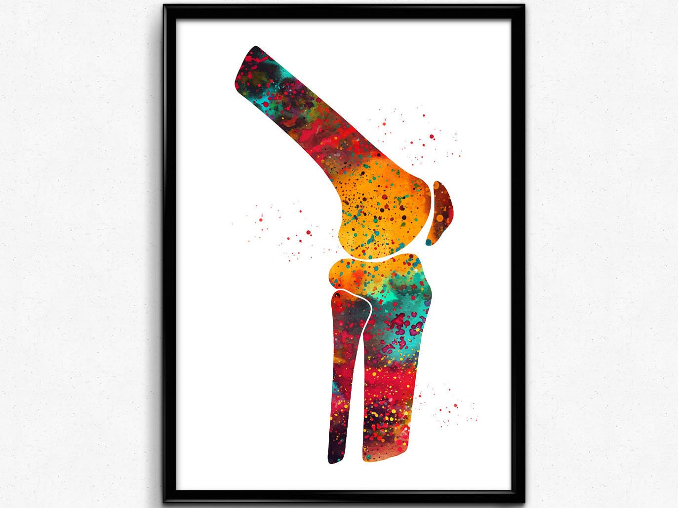 Knee Watercolor Print Human Body Anatomy Art Leg Bones Etsy