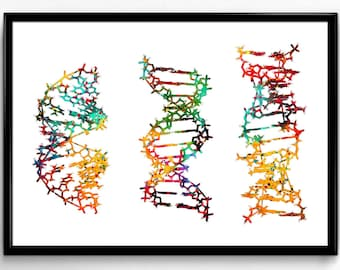 Three DNA, Science, Biology, Colorful Watercolor, Poster, Room Decor, gift, printable wall art (351)