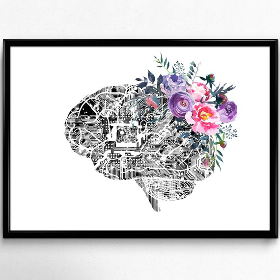 Brain Circuit Watercolor Print Medical Art Science Art Geek Neurologist Clinic