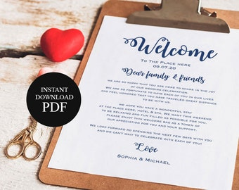 navy blue printable wedding itinerary welcome bag welcome letter wedding welcome note printable thank you templates diy tos_118