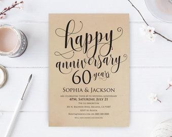 and more Wedding Anniversary Invitation 30th Printable Invitation 50th PDF Download Digital Customized Silver White TOS/_223
