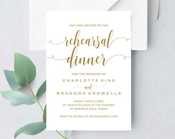 Gold Printable Rehearsal Dinner Invitation Template The Night Before Invitation Invite Card Pre Wedding Party Invitation Tos 179