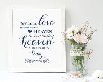 Navy Blue, Wedding Memorial Sign,Heaven Wedding Sign,Memorial Table,Someone We Love is in Heaven, In Loving Memory Sign, Calligraphy, TOS_81