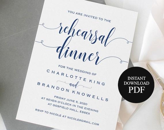 Navy Blue Printable Rehearsal Dinner Invitation Template The Etsy