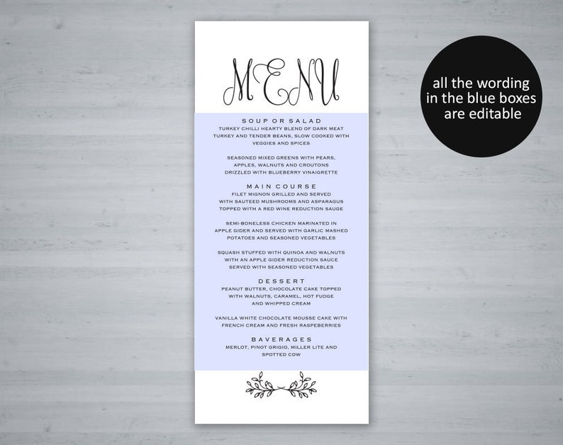 Editable Menu Rustic Wedding PDF Instant Download Menu Template Printable Wedding Menu Wedding Menu Template Menu Cards TOS/_297
