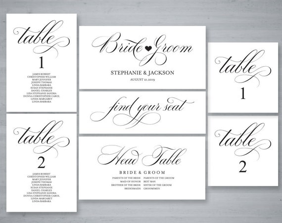 rustic wedding seating chart template header signs and table etsy