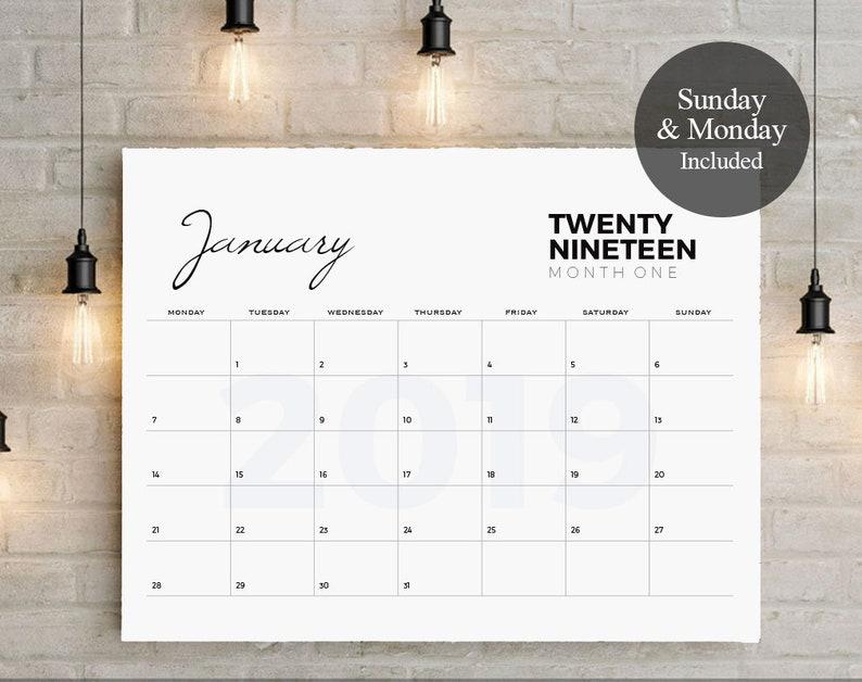 2019 Big Calendar Large Wall Calendar A3 Wall Etsy