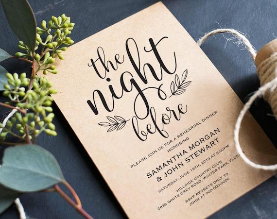 The Night Before Rehearsal Dinner Invitation Template Modern Etsy