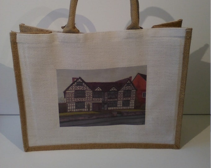 Churche's Mansion jute shopper bag featuring artwork by Christian Turner