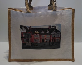 The Wheatsheaf jute shopper bag featuring artwork by Christian Turner
