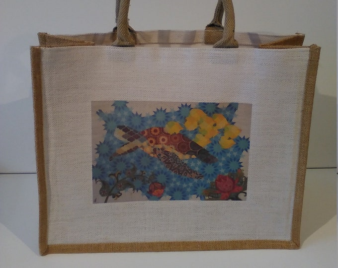 Geometric Turtle jute shopper bag featuring artwork by Christian Turner