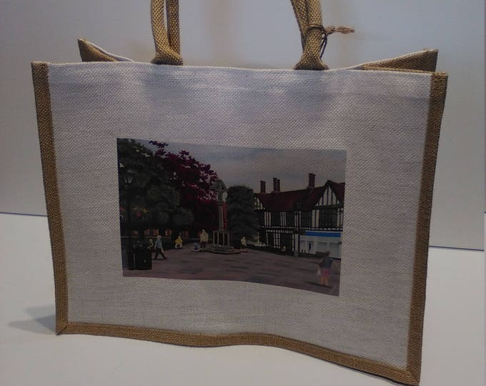 Nantwich Town Square jute shopper bag featuring artwork by Christian Turner