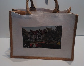 The Old Hall jute shopper bag featuring artwork by Christian Turner