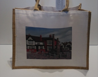 Sandbach Crosses jute shopper bag featuring artwork by Christian Turner