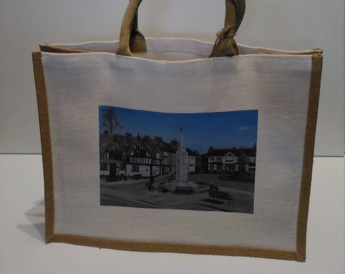 Sandbach Cobbles jute shopper bag featuring artwork by Christian Turner