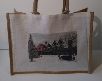 Christmas in Nantwich jute shopper bag featuring artwork by Christian Turner