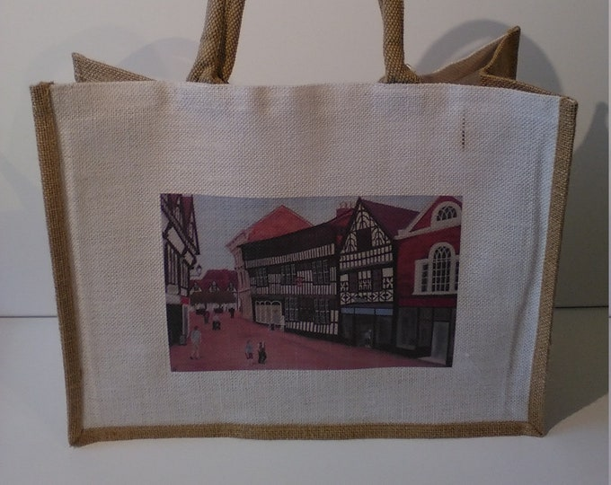 The Crown Hotel jute shopper bag featuring artwork by Christian Turner