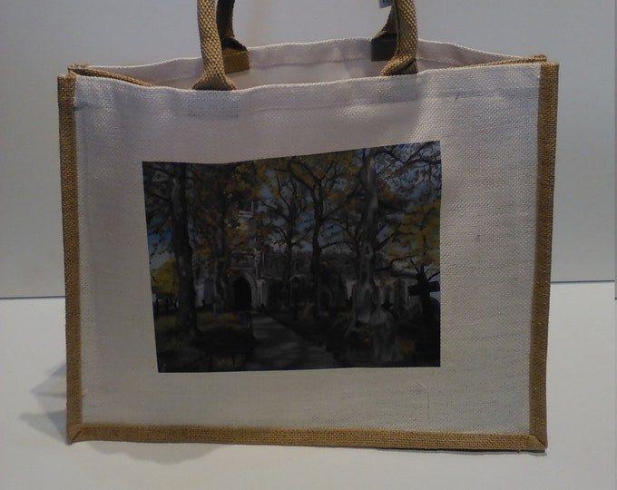 Sandbach Church jute shopper bag featuring artwork by Christian Turner