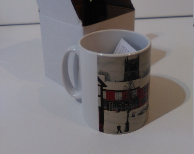 Christmas on the Cobbles ceramic drinking mug featuring artwork by Christian Turner