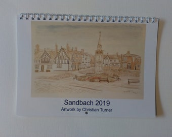 Sandbach 2019 A5 wiro booklet calendar featuring artwork by Christian Turner