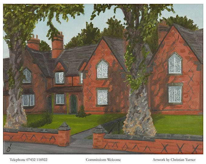 The Almshouses - original oil painting on linen canvas by Christian Turner