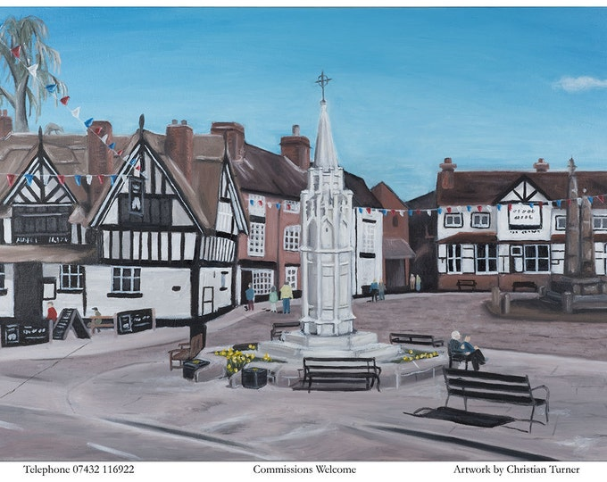 Sandbach Cobbles - original oil painting on box canvas by Christian Turner