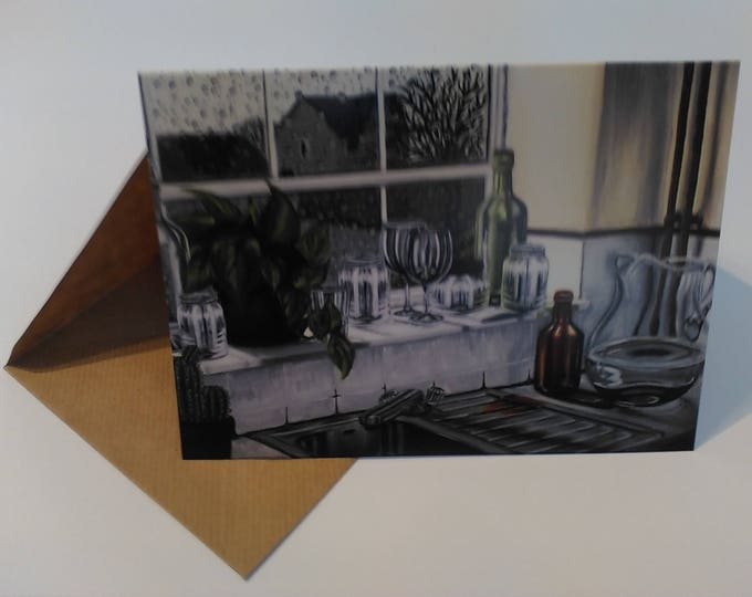 Kitchen Window - Greeting Card with Envelope in Cellophane Wrapping