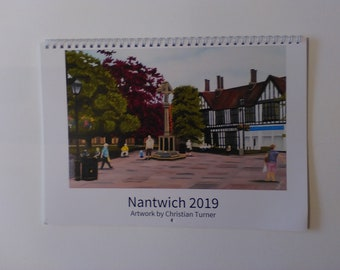Nantwich 2019 A4 wiro booklet calendar featuring artwork by Christian Turner
