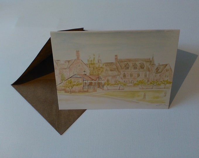 Sandbach School (Watercolour) - Greeting Card with Envelope in Cellophane Wrapping