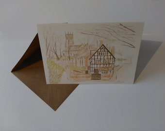 Front Street, Sandbach (Watercolour) - Greeting Card with Envelope in Cellophane Wrapping