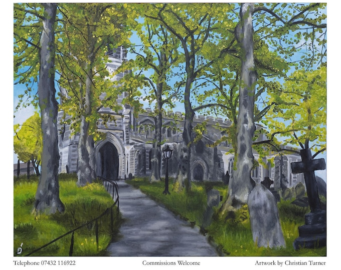 Sandbach Church - original oil painting on box canvas by Christian Turner