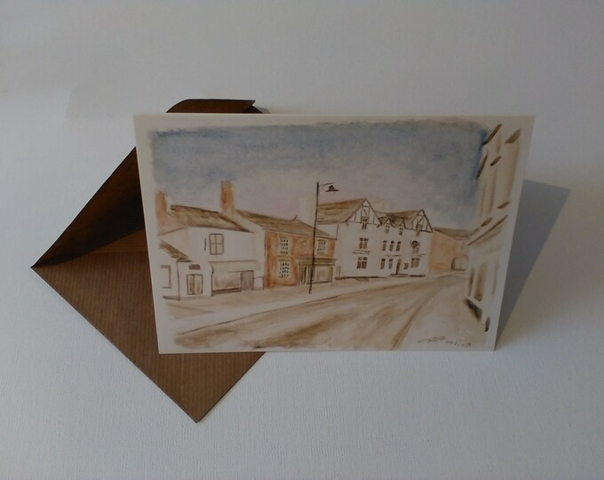 The George Inn (Watercolour) - Greeting Card with Envelope in Cellophane Wrapping