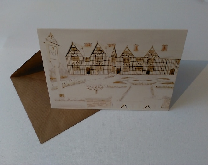 The Old Hall (Watercolour) - Greeting Card with Envelope in Cellophane Wrapping