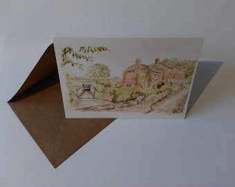 Mill Hill Lane, Sandbach (Watercolour) - Greeting Card with Envelope in Cellophane Wrapping