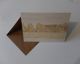 Elworth Cricket Club (Watercolour) - Greeting Card with Envelope in Cellophane Wrapping