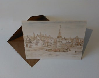 Sandbach Cobbles (Watercolour) - Greeting Card with Envelope in Cellophane Wrapping