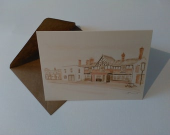 Congleton Road, Sandbach (Watercolour) - Greeting Card with Envelope in Cellophane Wrapping