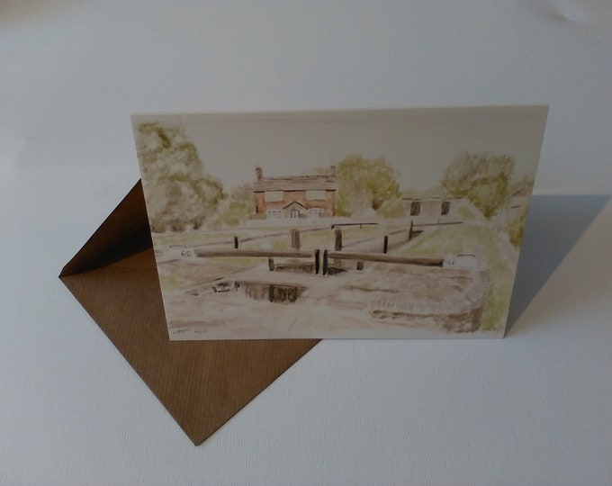 Wheelock Canal (Watercolour) - Greeting Card with Envelope in Cellophane Wrapping