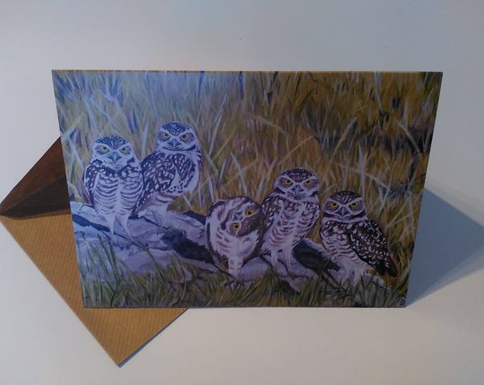Owls - Greeting Card with Envelope in Cellophane Wrapping