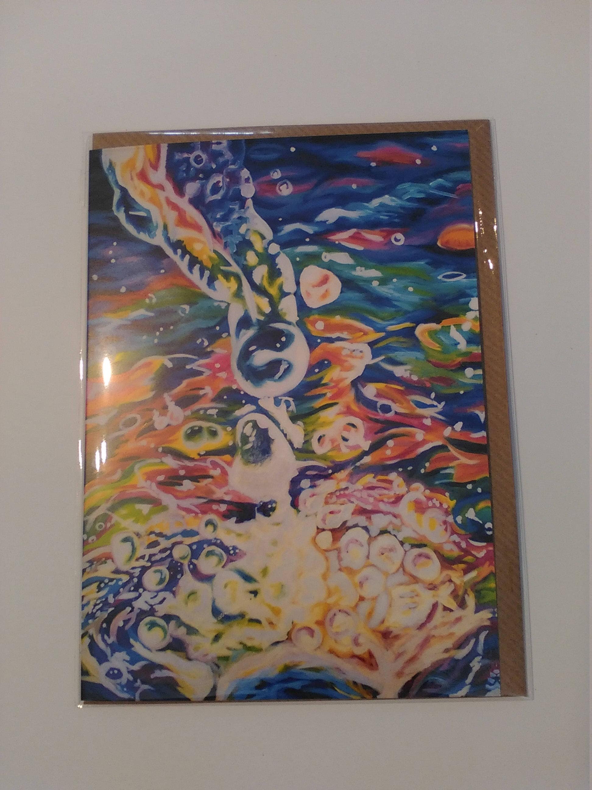 Water splash ii greeting card with envelope in cellophane wrapping m4hsunfo