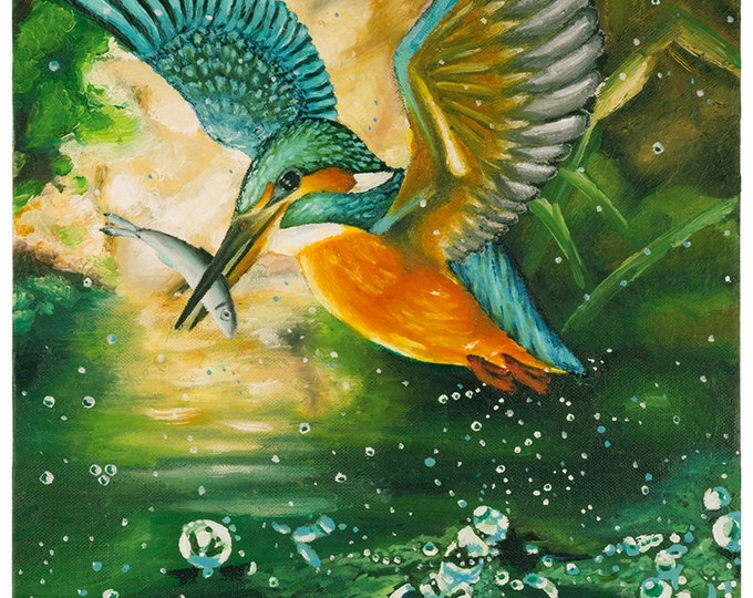 Kingfisher - Giclee print of painting by Christian Turner