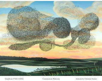 Starling Murmuration - original oil painting on linen canvas by Christian Turner