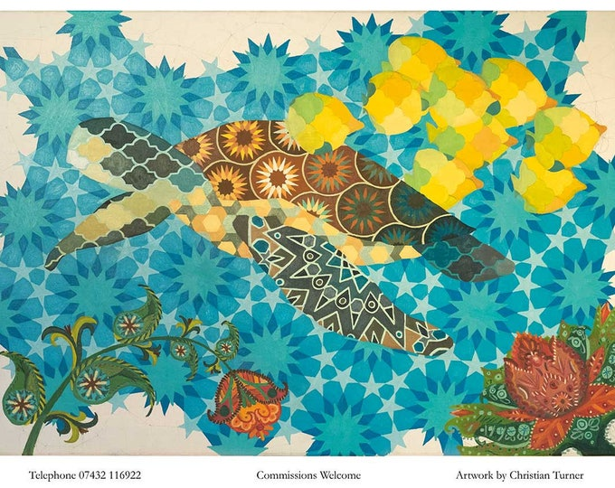 Geometric Turtle - original oil painting on linen canvas by Christian Turner