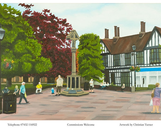 Nantwich Town Square - original oil painting on linen canvas by Christian Turner