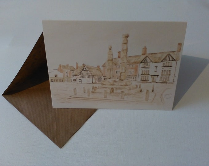 Sandbach Crosses (Watercolour) - Greeting Card with Envelope in Cellophane Wrapping