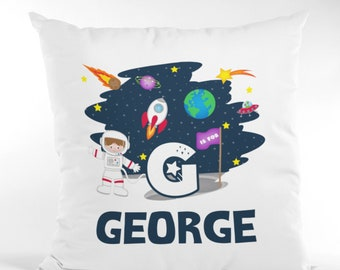 Personalised Space Rockets Kids Childrens Cushion Cover Pillow Case Filling