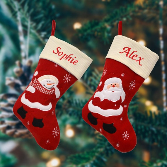 Personalised Embroidered Deluxe Xmas Stocking Nordic Christmas Red Sack Luxury