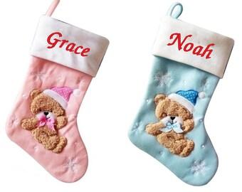 Luxury Deluxe Personalised Embroidered Christmas Babys Boys & Girls Xmas Stocking