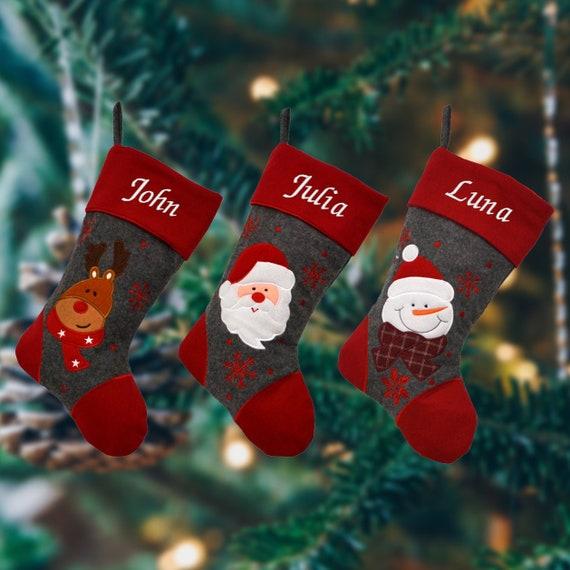 Grey Christmas Stockings Personalised.Personalised Embroidered Red And Grey Christmas Stocking With Santa Snowman Or Reindeer
