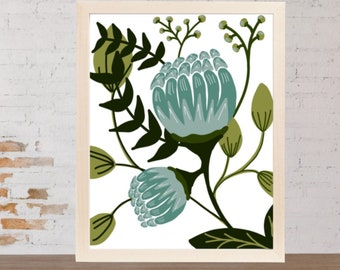 Floral Print - Wall Art - Nursery Decor - Vintage Floral - Blue Floral